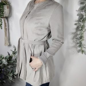 H BY HALSTON faux suede belted jacket grey 0062